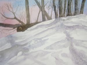 Hillside in Snow, watercolor