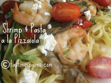 shrimp and pasta a la pizzaiola