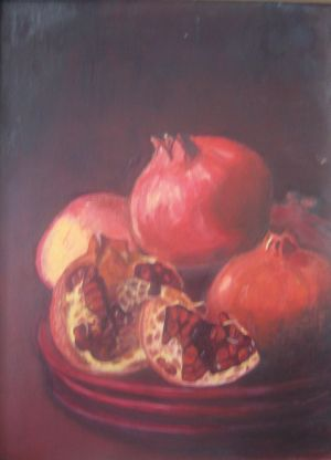 Pomegranates, oil on canvas