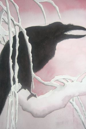 Raven in Snow, watercolor in two colors