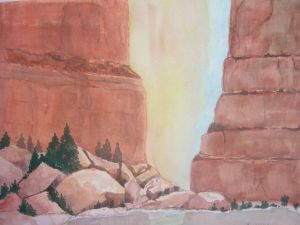 Red Rocks, watercolor