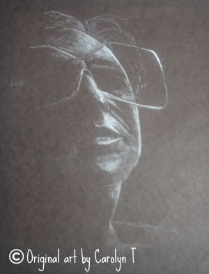 The glasses, white charcoal on black paper, 10 x 12