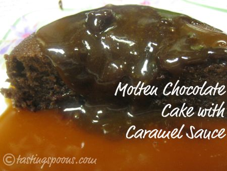 molten chocolate cake (lava cakes) with caramel sauce