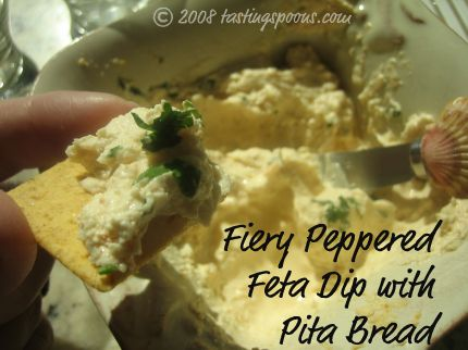 fiery peppered feta dip with pita bread