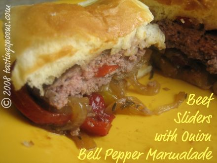 beef hamburger sliders with onion red pepper relish and marmalade