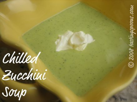 chilled zucchini soup with a dollop of sour cream