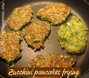 zucchini pancakes frying