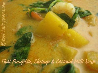 Thai pumpkin, shrimp and coconut milk soup