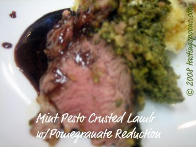 mint pesto crusted rack of lamb pomegranate reduction