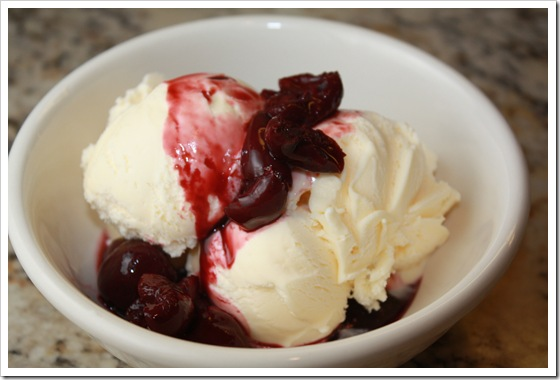 bing cherry compote with ice cream 1