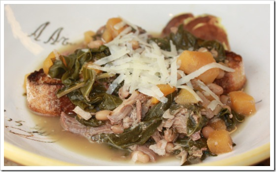 pork chard soup in bowl