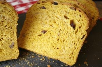 raised pumpkin bread slice