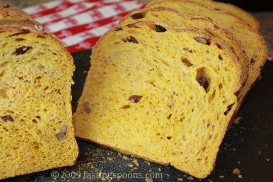 raised pumpkin bread sliced