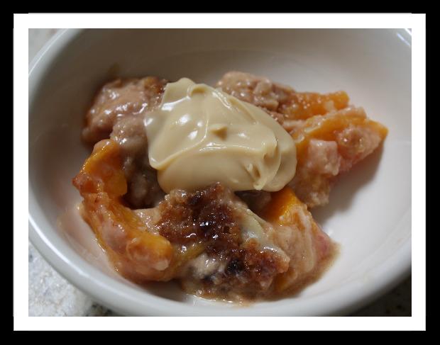 Peach Crisp with Maple Cream Sauce | TastingSpoons