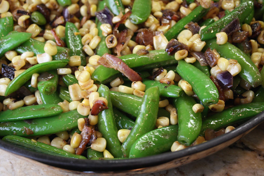 Corn, Sugar Snap Pea and Bacon Saute