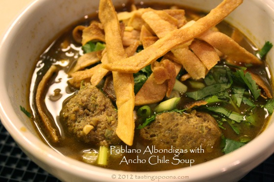 Poblano Albondigas with Ancho Chile Soup | TastingSpoons