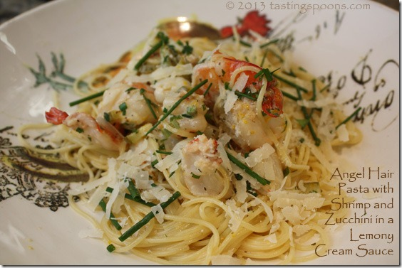 Angel Hair Pasta with Shrimp & Zucchini, in a Lemony Cream ...