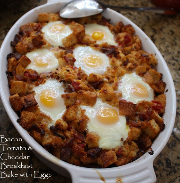 Bacon Tomato And Cheddar Breakfast Bake With Eggs Recipe: Bacon, Tomato & Cheddar Breakfast Bake With Eggs