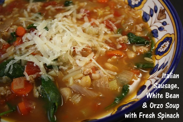 Italian Sausage, White Bean and Orzo Soup with Spinach and Vegetables ...