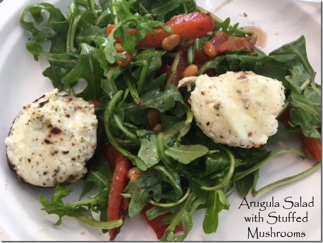 arugula_salad_peppers_stuffed_mushrooms