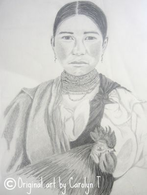 Woman with Rooster, pencil drawing
