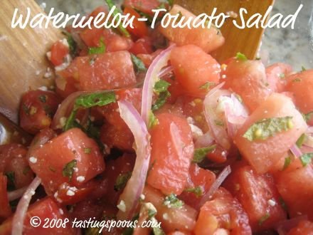 watermelon and tomato salad with Feta, mint, red onion, in vinaigrette