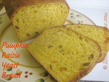 pumpkin raisin (and walnut) yeast bread