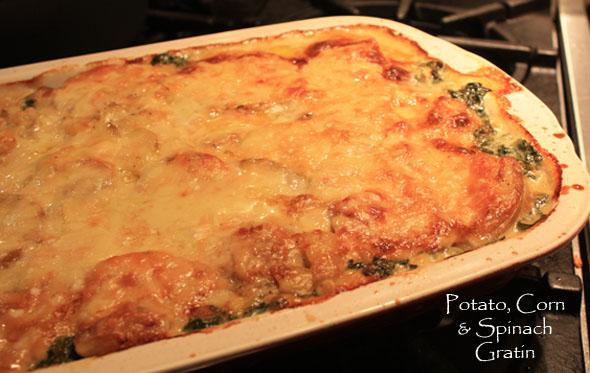 scalloped potato, spinach and corn casserole