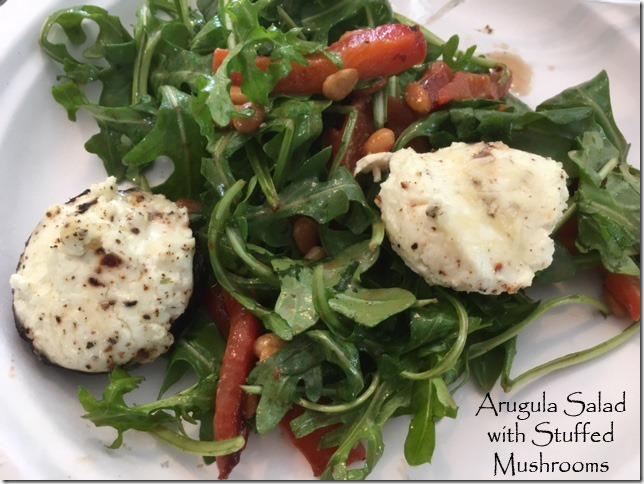 arugula_salad_peppers_stuffed_mushrooms
